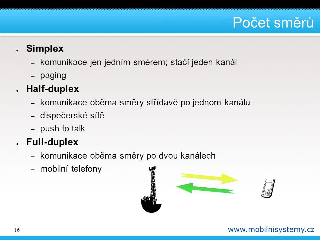 16 Počet směrů ● Simplex – komunikace jen jedním směrem; stačí jeden kanál – paging ● Half-duplex – komunikace oběma směry střídavě po jednom kanálu – dispečerské sítě – push to talk ● Full-duplex – komunikace oběma směry po dvou kanálech – mobilní telefony