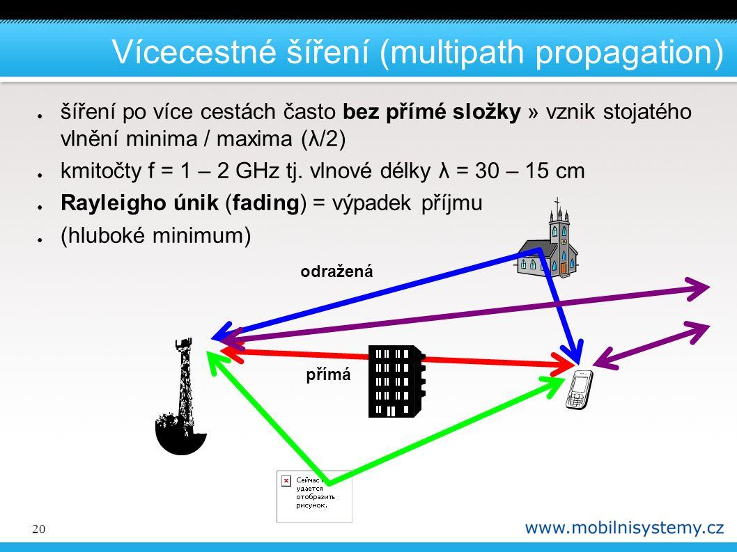 20 Vícecestné šíření (multipath propagation) ● šíření po více cestách často bez přímé složky » vznik stojatého vlnění minima / maxima (λ/2) ● kmitočty f = 1 – 2 GHz tj.