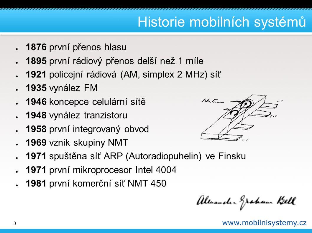 3 Historie mobilních systémů ● 1876 první přenos hlasu ● 1895 první rádiový přenos delší než 1 míle ● 1921 policejní rádiová (AM, simplex 2 MHz) síť ●
