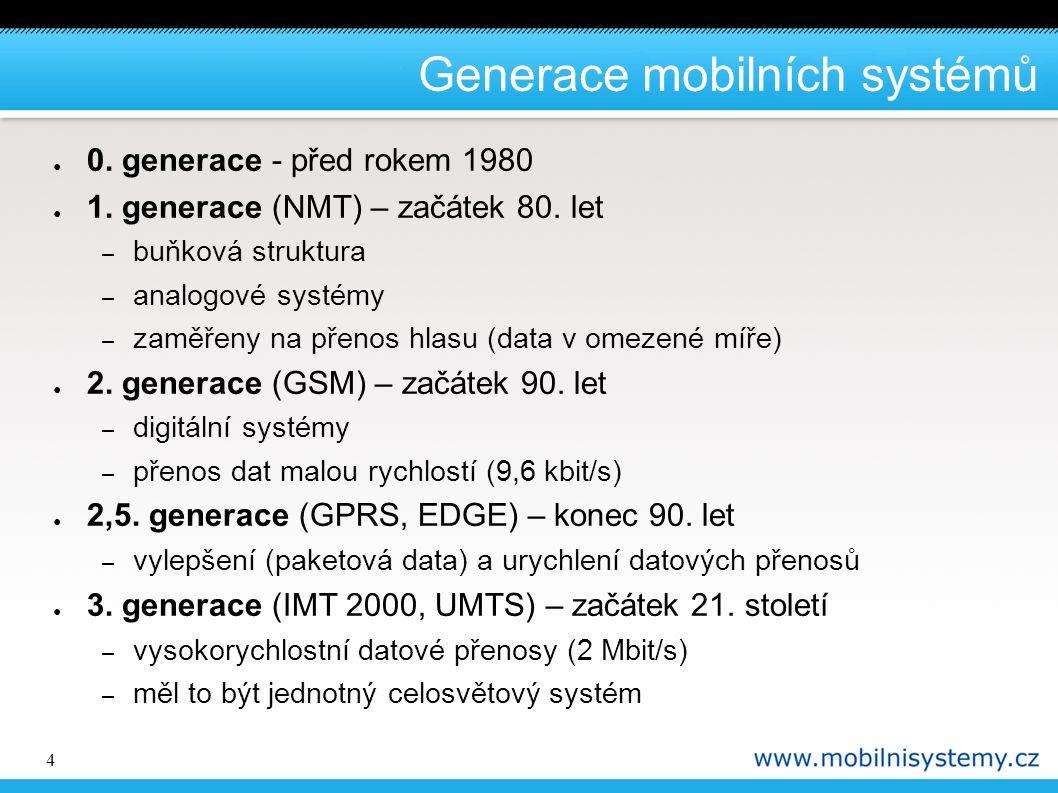 4 Generace mobilních systémů ● 0. generace - před rokem 1980 ● 1. generace (NMT) – začátek 80. let – buňková struktura – analogové systémy – zaměřeny