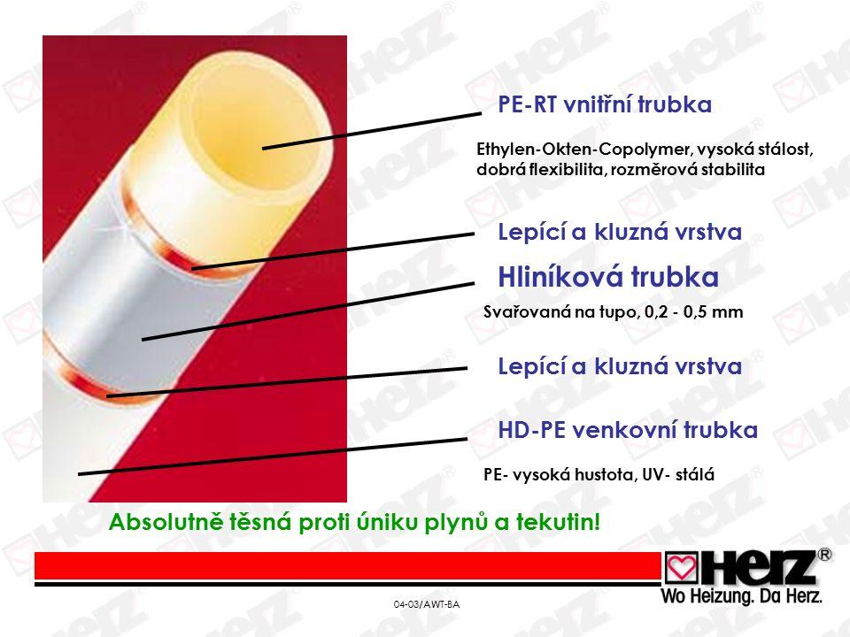 04-03/AWT-BA PE-RT vnitřní trubka Hliníková trubka HD-PE venkovní trubka Ethylen-Okten-Copolymer, vysoká stálost, dobrá flexibilita, rozměrová stabilita Svařovaná na tupo, 0,2 - 0,5 mm Lepící a kluzná vrstva PE- vysoká hustota, UV- stálá Absolutně těsná proti úniku plynů a tekutin!