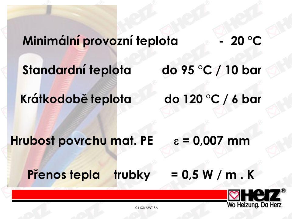 04-03/AWT-BA Standardní teplota do 95 °C / 10 bar Krátkodobě teplota do 120 °C / 6 bar Hrubost povrchu mat.