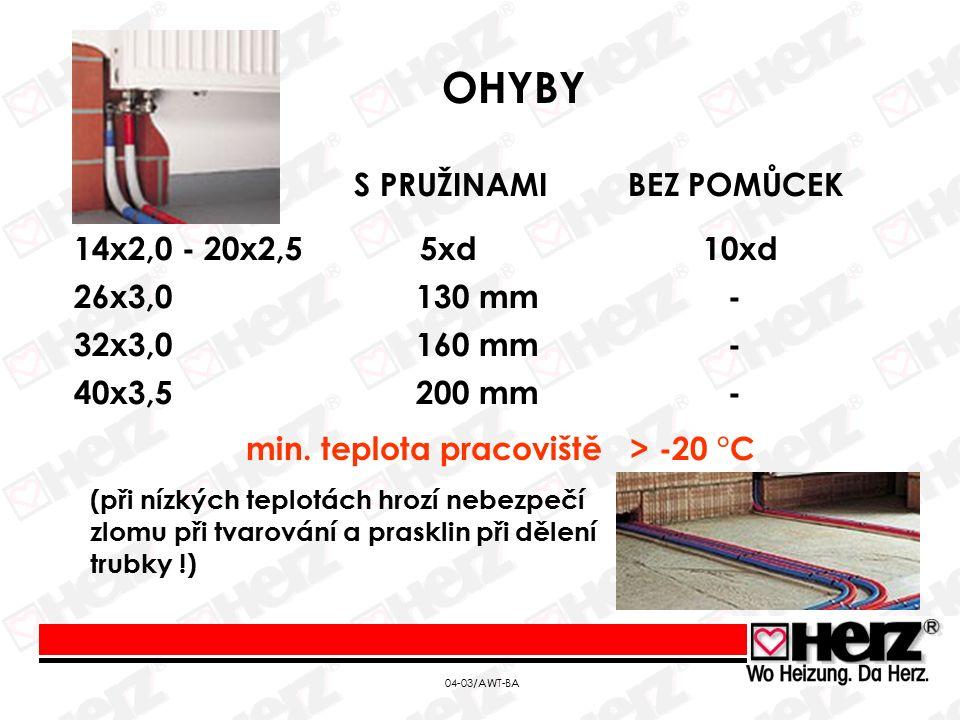 OHYBY 14x2,0 - 20x2,5 5xd 10xd S PRUŽINAMI BEZ POMŮCEK 26x3,0 130 mm - 32x3,0 160 mm - 40x3,5 200 mm - min.