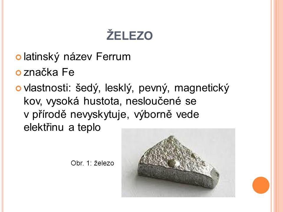 ŽELEZO latinský název Ferrum značka Fe vlastnosti: šedý, lesklý, pevný, magnetický kov, vysoká hustota, nesloučené se v přírodě nevyskytuje, výborně vede elektřinu a teplo Obr.