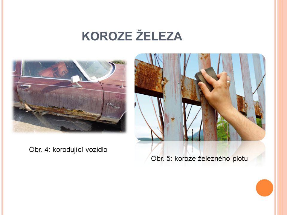 KOROZE ŽELEZA Obr. 4: korodující vozidlo Obr. 5: koroze železného plotu