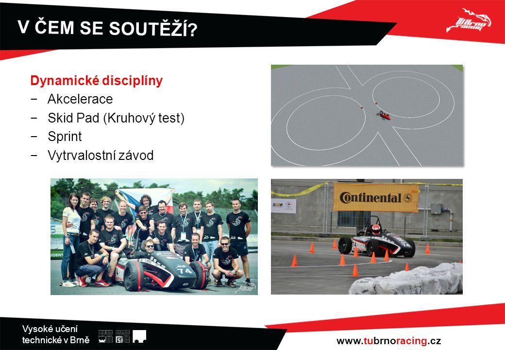 Vysoké učení technické v Brně Dynamické disciplíny −Akcelerace −Skid Pad (Kruhový test) −Sprint −Vytrvalostní závod V ČEM SE SOUTĚŽÍ.