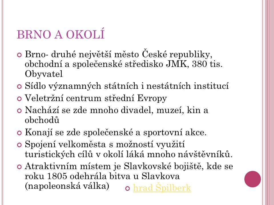 BRNO A OKOLÍ Brno- druhé největší město České republiky, obchodní a společenské středisko JMK, 380 tis.