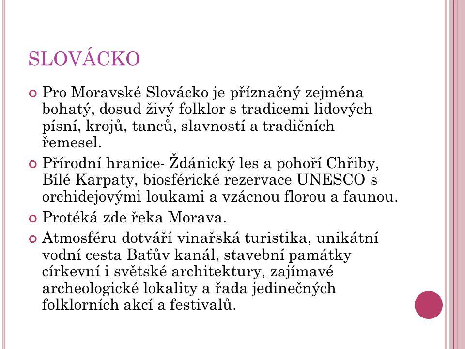 SLOVÁCKO Pro Moravské Slovácko je příznačný zejména bohatý, dosud živý folklor s tradicemi lidových písní, krojů, tanců, slavností a tradičních řemesel.