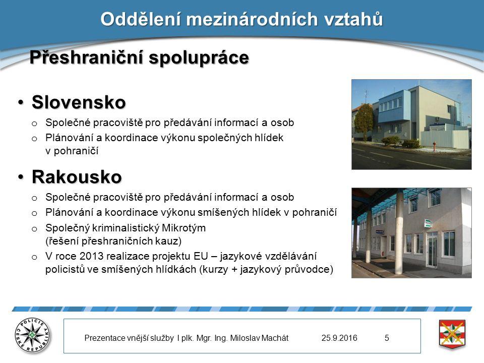 Oddělení mezinárodních vztahů Přeshraniční spolupráce SlovenskoSlovensko o Společné pracoviště pro předávání informací a osob o Plánování a koordinace výkonu společných hlídek v pohraničí RakouskoRakousko o Společné pracoviště pro předávání informací a osob o Plánování a koordinace výkonu smíšených hlídek v pohraničí o Společný kriminalistický Mikrotým (řešení přeshraničních kauz) o V roce 2013 realizace projektu EU – jazykové vzdělávání policistů ve smíšených hlídkách (kurzy + jazykový průvodce) 25.9.2016Prezentace vnější služby l plk.