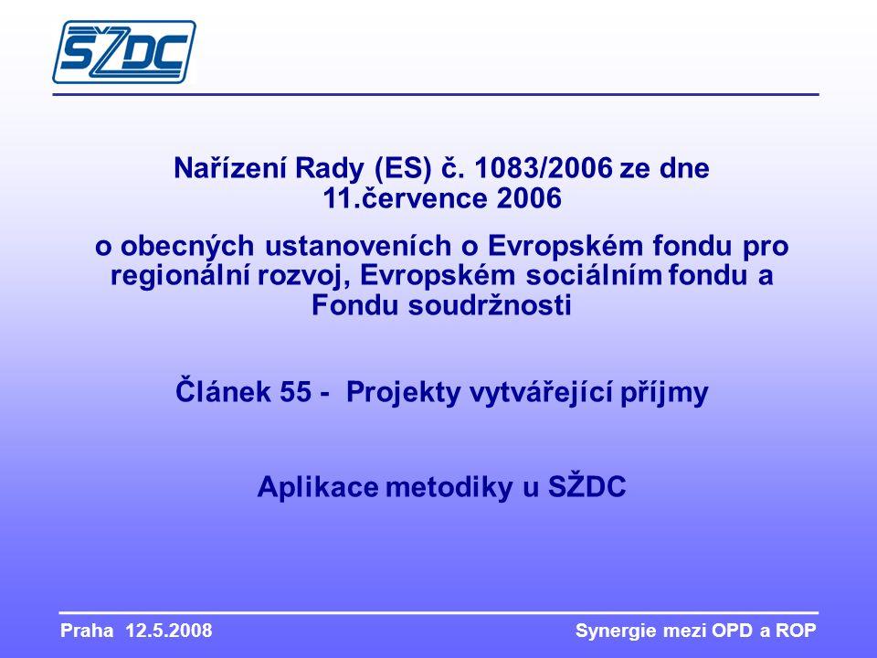Praha 12.5.2008 Synergie mezi OPD a ROP Nařízení Rady (ES) č. 1083/2006 ze dne 11.července 2006 o obecných ustanoveních o Evropském fondu pro regionál