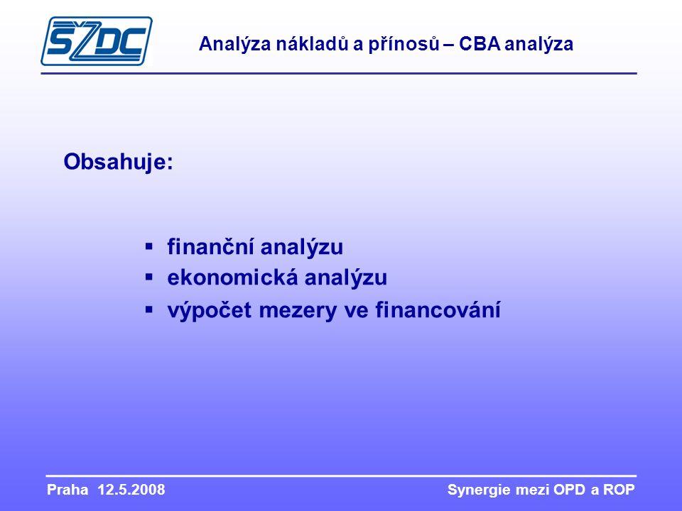 Praha 12.5.2008 Synergie mezi OPD a ROP Obsahuje:  finanční analýzu  ekonomická analýzu  výpočet mezery ve financování Analýza nákladů a přínosů –