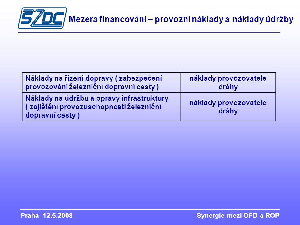 Praha 12.5.2008 Synergie mezi OPD a ROP Mezera financování – provozní náklady a náklady údržby Náklady na řízení dopravy ( zabezpečení provozování žel