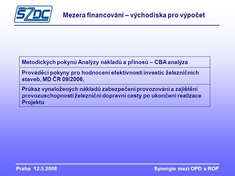 Praha 12.5.2008 Synergie mezi OPD a ROP Mezera financování – východiska pro výpočet Metodických pokynů Analýzy nákladů a přínosů – CBA analýza Provádě
