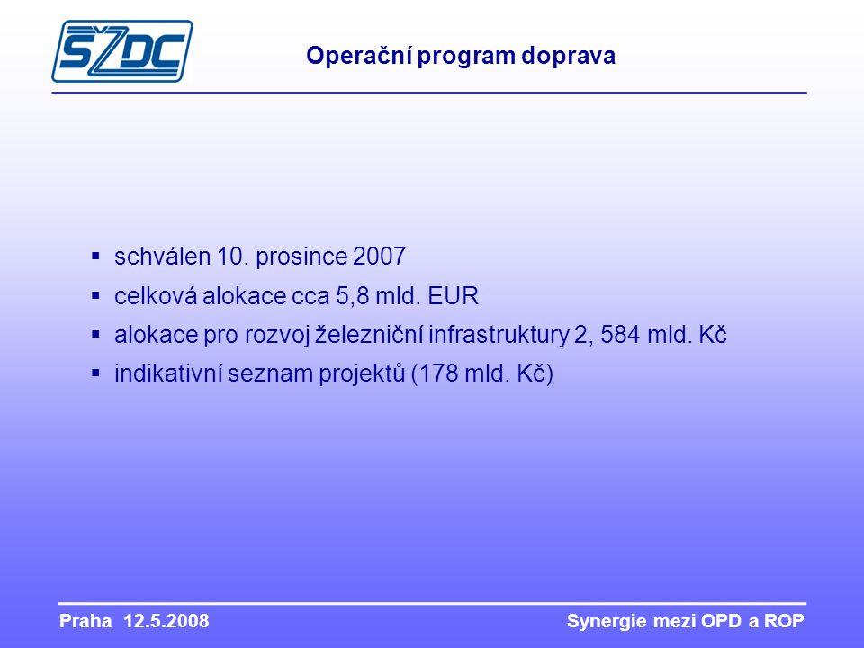 Praha 12.5.2008 Synergie mezi OPD a ROP Operační program doprava  schválen 10. prosince 2007  celková alokace cca 5,8 mld. EUR  alokace pro rozvoj