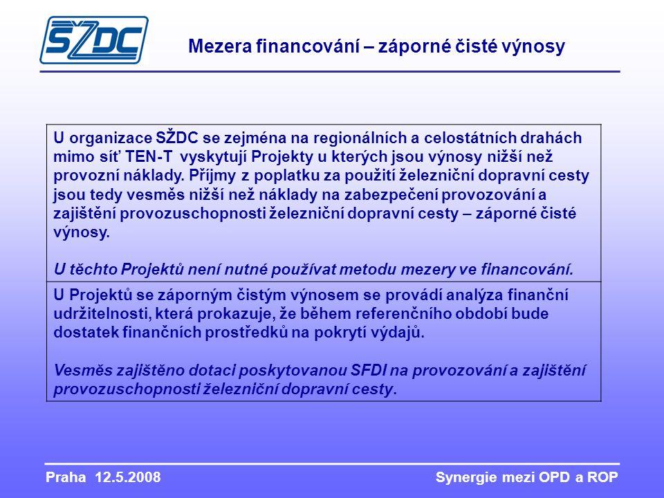 Praha 12.5.2008 Synergie mezi OPD a ROP Mezera financování – záporné čisté výnosy U organizace SŽDC se zejména na regionálních a celostátních drahách mimo síť TEN-T vyskytují Projekty u kterých jsou výnosy nižší než provozní náklady.