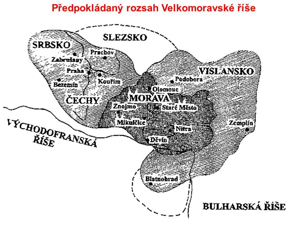 Předpokládaný rozsah Velkomoravské říše