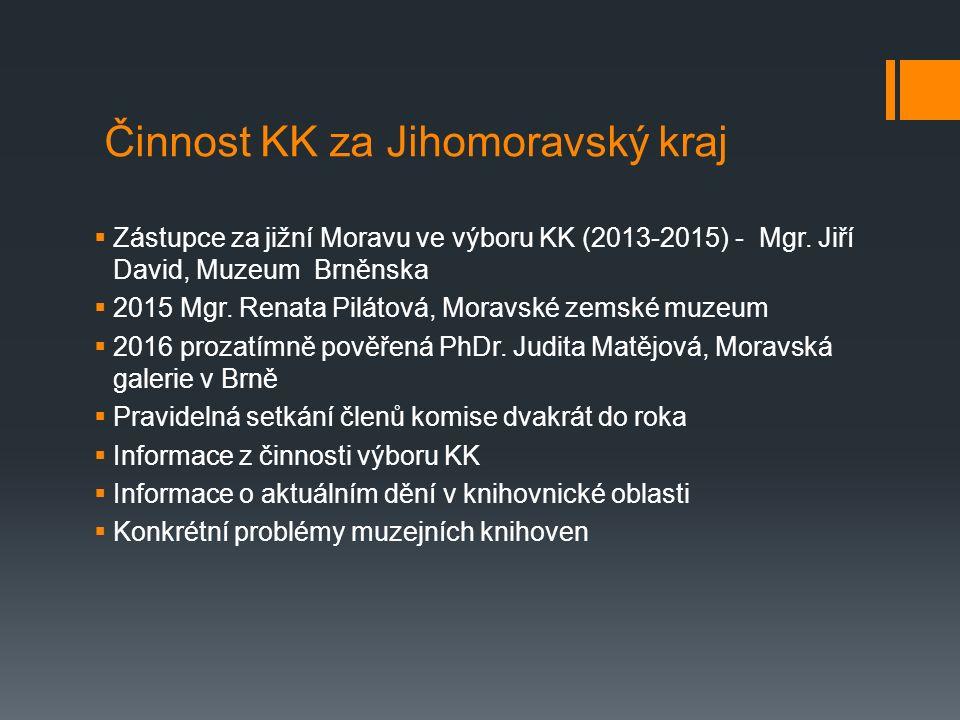 Činnost KK za Jihomoravský kraj  Zástupce za jižní Moravu ve výboru KK (2013-2015) - Mgr.
