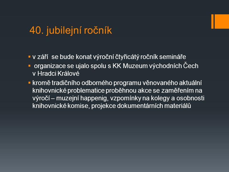 40. jubilejní ročník  v září se bude konat výroční čtyřicátý ročník semináře  organizace se ujalo spolu s KK Muzeum východních Čech v Hradci Králové