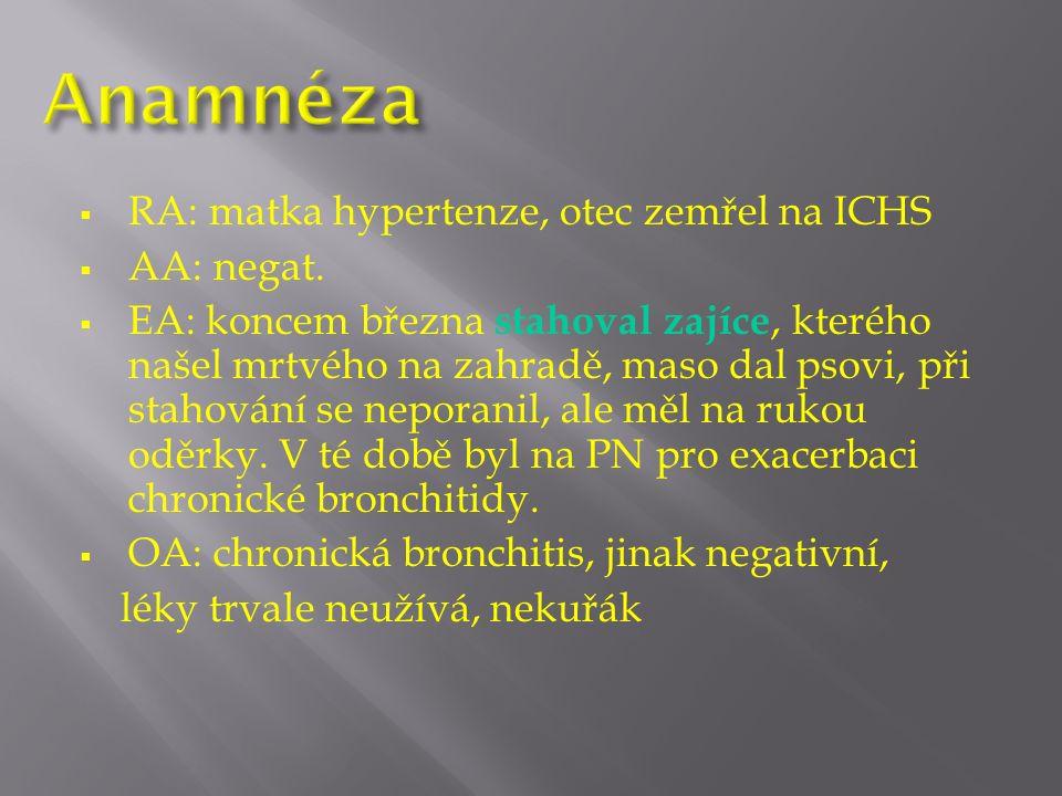  RA: matka hypertenze, otec zemřel na ICHS  AA: negat.
