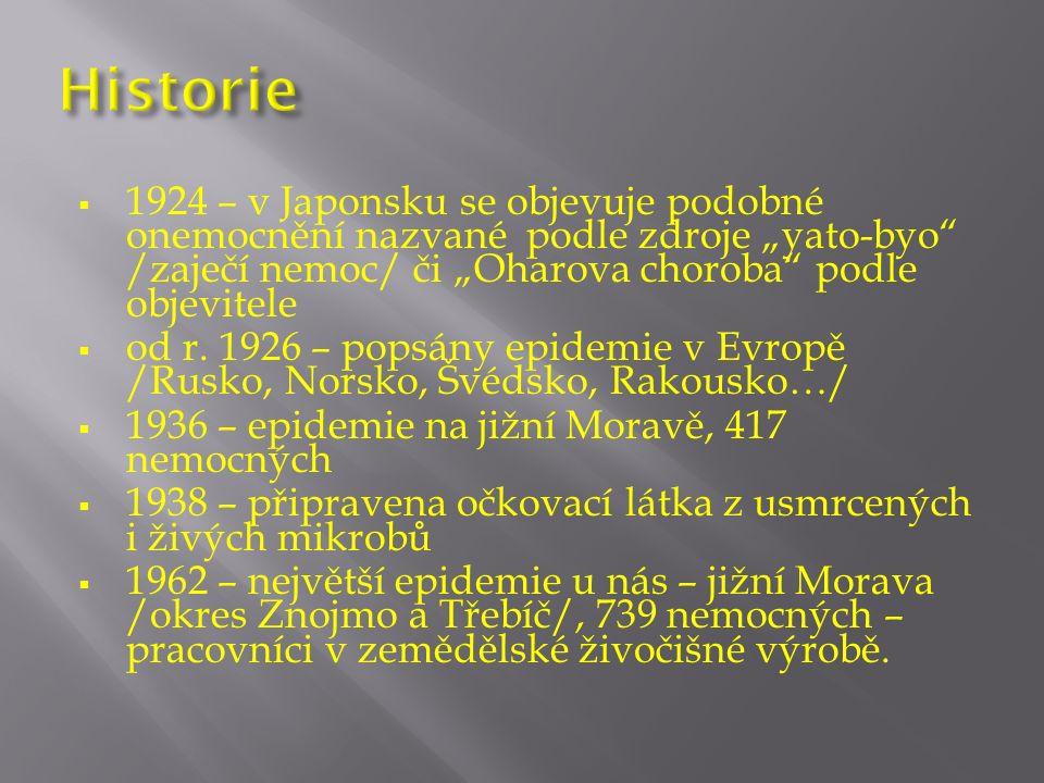 """ 1924 – v Japonsku se objevuje podobné onemocnění nazvané podle zdroje """"yato-byo /zaječí nemoc/ či """"Oharova choroba podle objevitele  od r."""