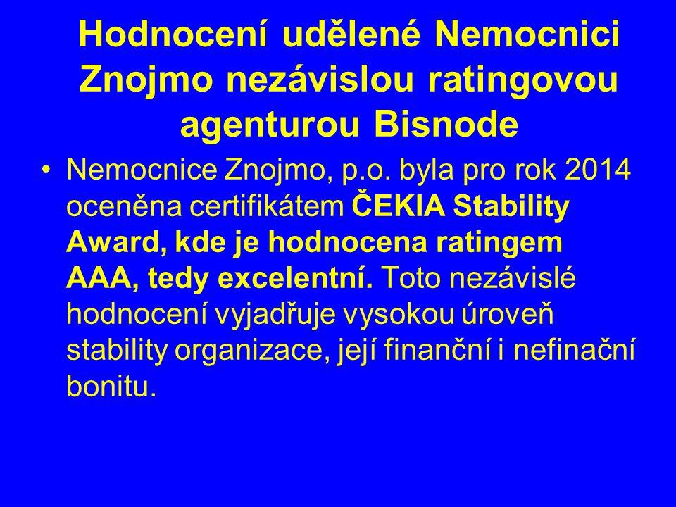 Hodnocení udělené Nemocnici Znojmo nezávislou ratingovou agenturou Bisnode Nemocnice Znojmo, p.o.