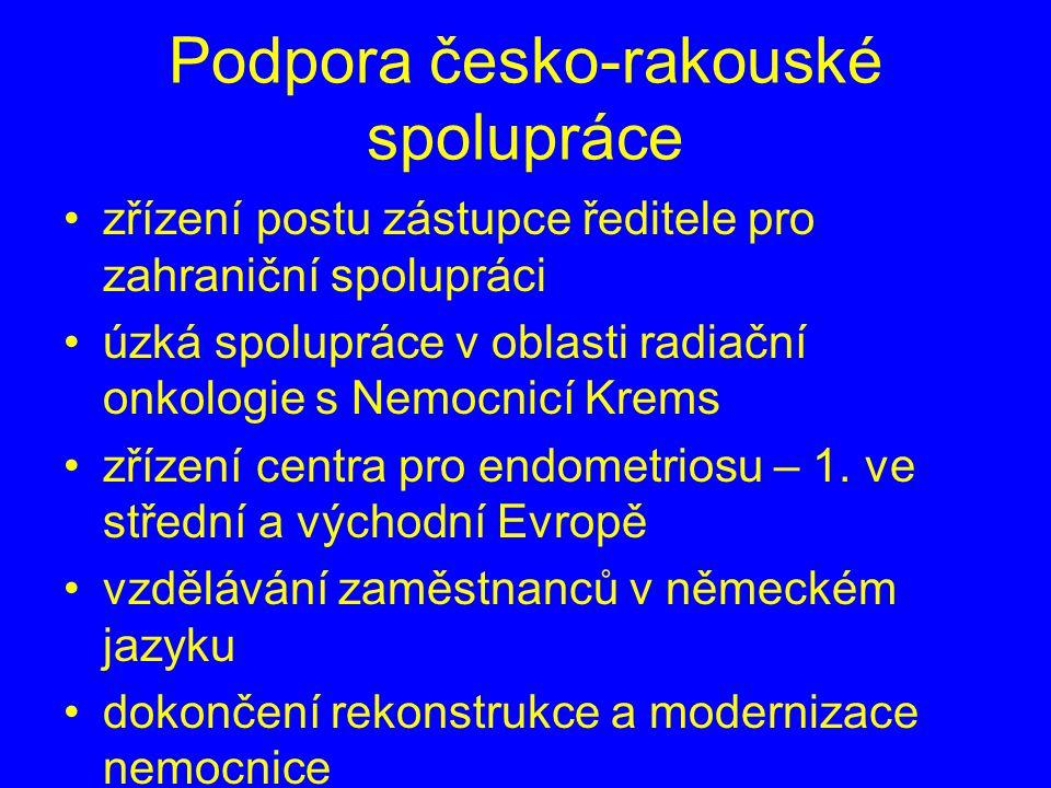 Podpora česko-rakouské spolupráce zřízení postu zástupce ředitele pro zahraniční spolupráci úzká spolupráce v oblasti radiační onkologie s Nemocnicí Krems zřízení centra pro endometriosu – 1.