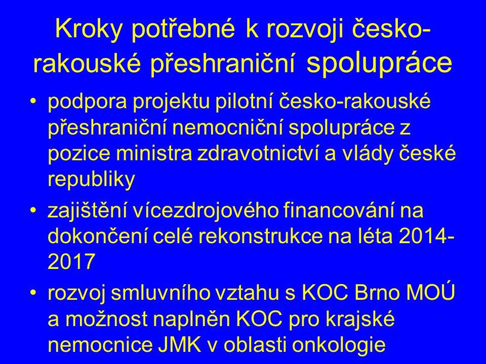 Kroky potřebné k rozvoji česko- rakouské přeshraniční spolupráce podpora projektu pilotní česko-rakouské přeshraniční nemocniční spolupráce z pozice ministra zdravotnictví a vlády české republiky zajištění vícezdrojového financování na dokončení celé rekonstrukce na léta 2014- 2017 rozvoj smluvního vztahu s KOC Brno MOÚ a možnost naplněn KOC pro krajské nemocnice JMK v oblasti onkologie