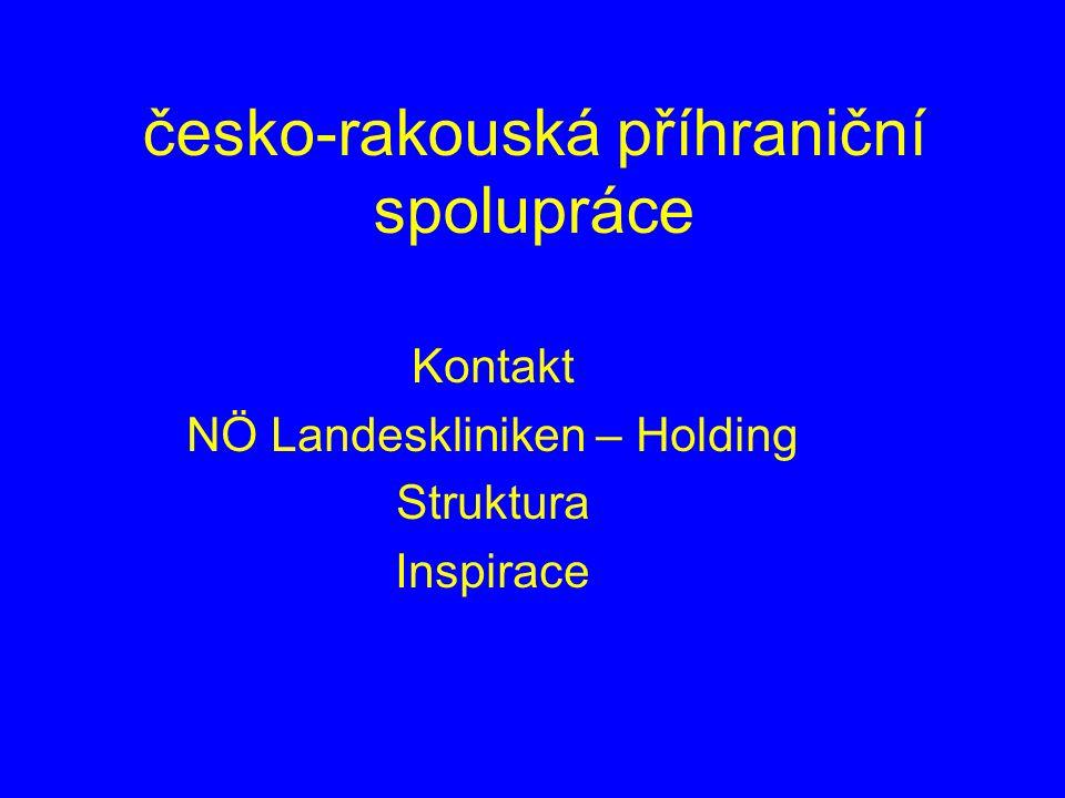 česko-rakouská příhraniční spolupráce Kontakt NÖ Landeskliniken – Holding Struktura Inspirace
