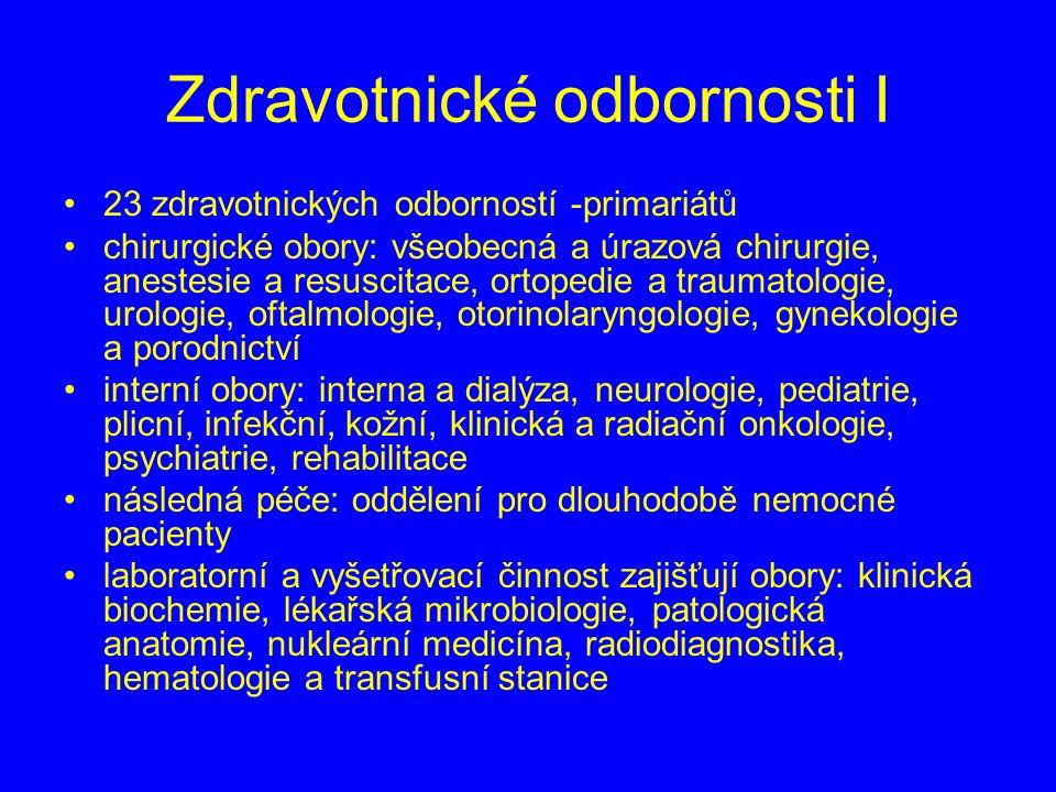 Zdravotnické odbornosti I 23 zdravotnických odborností -primariátů chirurgické obory: všeobecná a úrazová chirurgie, anestesie a resuscitace, ortopedie a traumatologie, urologie, oftalmologie, otorinolaryngologie, gynekologie a porodnictví interní obory: interna a dialýza, neurologie, pediatrie, plicní, infekční, kožní, klinická a radiační onkologie, psychiatrie, rehabilitace následná péče: oddělení pro dlouhodobě nemocné pacienty laboratorní a vyšetřovací činnost zajišťují obory: klinická biochemie, lékařská mikrobiologie, patologická anatomie, nukleární medicína, radiodiagnostika, hematologie a transfusní stanice