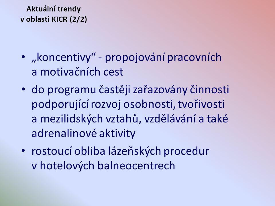 """Aktuální trendy v oblasti KICR (2/2) """"koncentivy - propojování pracovních a motivačních cest do programu častěji zařazovány činnosti podporující rozvoj osobnosti, tvořivosti a mezilidských vztahů, vzdělávání a také adrenalinové aktivity rostoucí obliba lázeňských procedur v hotelových balneocentrech"""