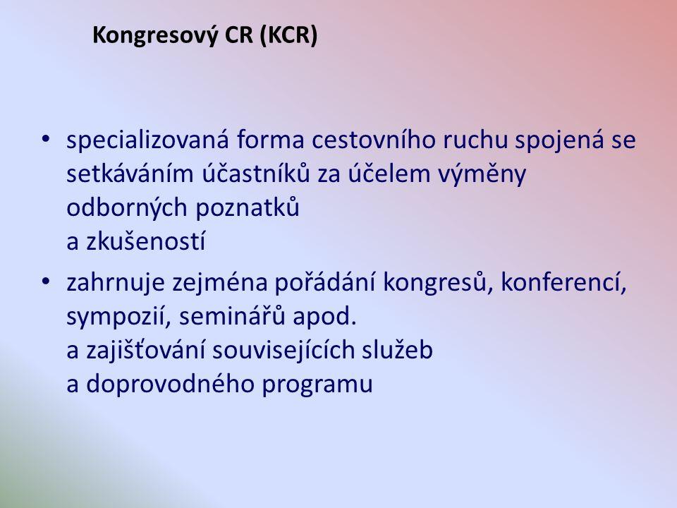 Charakteristiky KCR Pro KCR jsou typické především: vysoká úroveň a komplexnost služeb odborný charakter akcí vysoké nároky na organizační a technické zabezpečení výrazně nadprůměrné výdaje na jednoho účastníka odlišná sezónnost Akce KCR probíhají převážně v pracovním čase účastníků obvykle obsahují společenské a reprezentativní prvky jsou pořádány zpravidla ve velkých městech významné akce KCR posilují postavení a image města a země