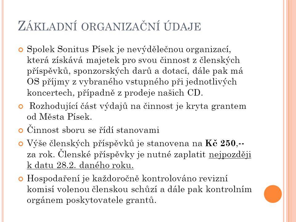 Z ÁKLADNÍ ORGANIZAČNÍ ÚDAJE Spolek Sonitus Písek je nevýdělečnou organizací, která získává majetek pro svou činnost z členských příspěvků, sponzorských darů a dotací, dále pak má OS příjmy z vybraného vstupného při jednotlivých koncertech, případně z prodeje našich CD.