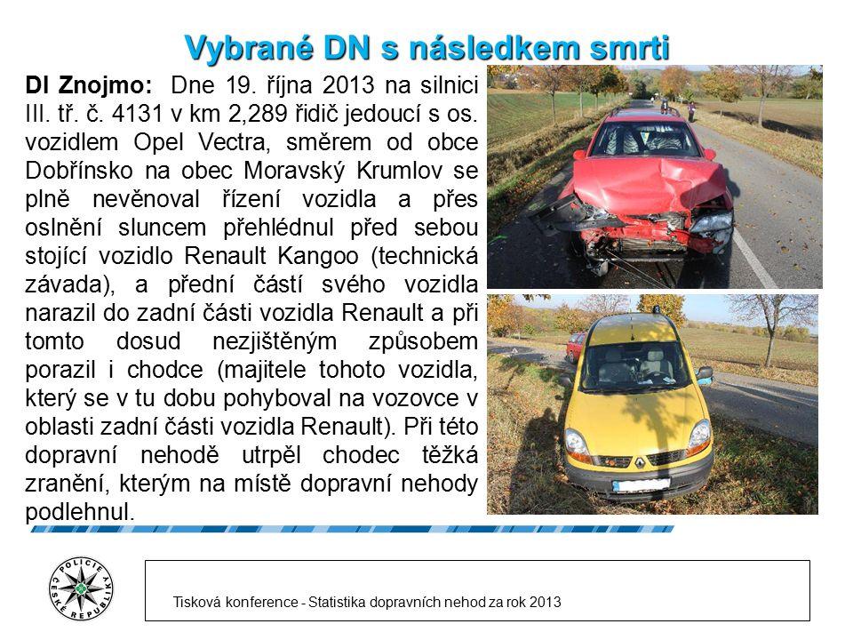 Vybrané DN s následkem smrti DI Znojmo: Dne 19. října 2013 na silnici III. tř. č. 4131 v km 2,289 řidič jedoucí s os. vozidlem Opel Vectra, směrem od