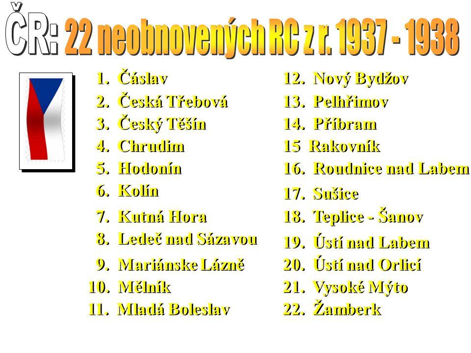 22.Žamberk 20. Ústí nad Orlicí 21. Vysoké Mýto 19.