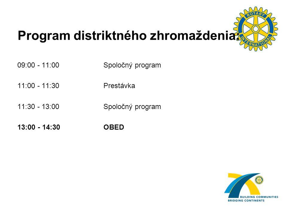 Program distriktného zhromaždenia: 09:00 - 11:00Spoločný program 11:00 - 11:30Prestávka 11:30 - 13:00Spoločný program 13:00 - 14:30OBED