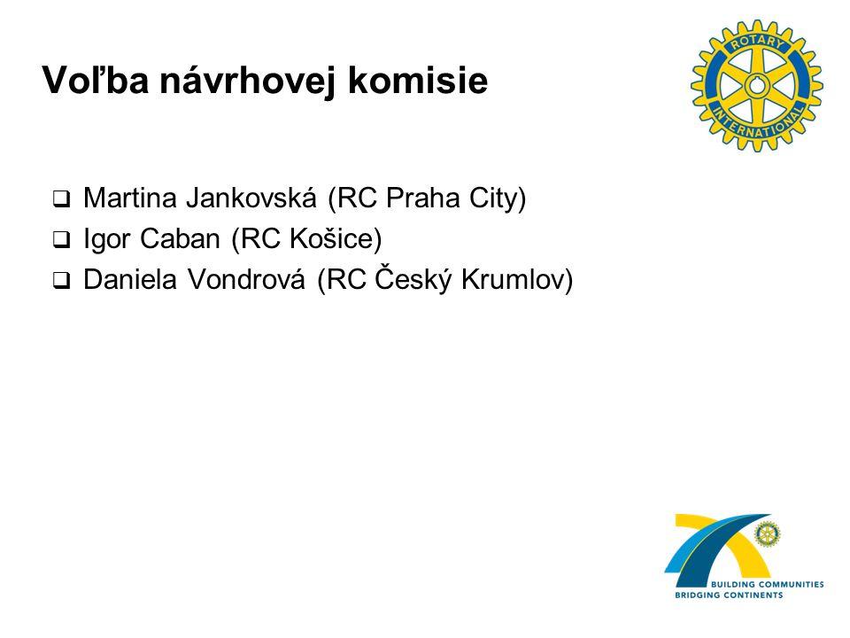 Voľba návrhovej komisie  Martina Jankovská (RC Praha City)  Igor Caban (RC Košice)  Daniela Vondrová (RC Český Krumlov)