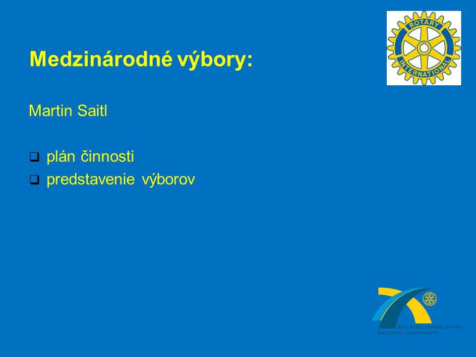 Medzinárodné výbory: Martin Saitl  plán činnosti  predstavenie výborov