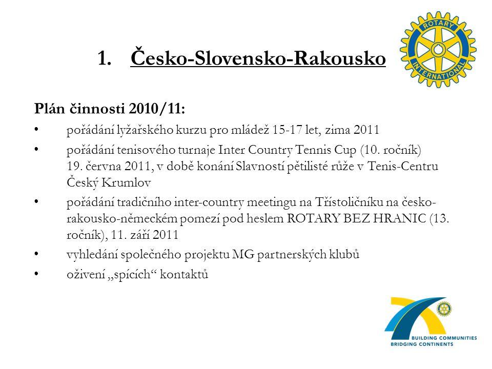 1.Česko-Slovensko-Rakousko Plán činnosti 2010/11: pořádání lyžařského kurzu pro mládež 15-17 let, zima 2011 pořádání tenisového turnaje Inter Country Tennis Cup (10.
