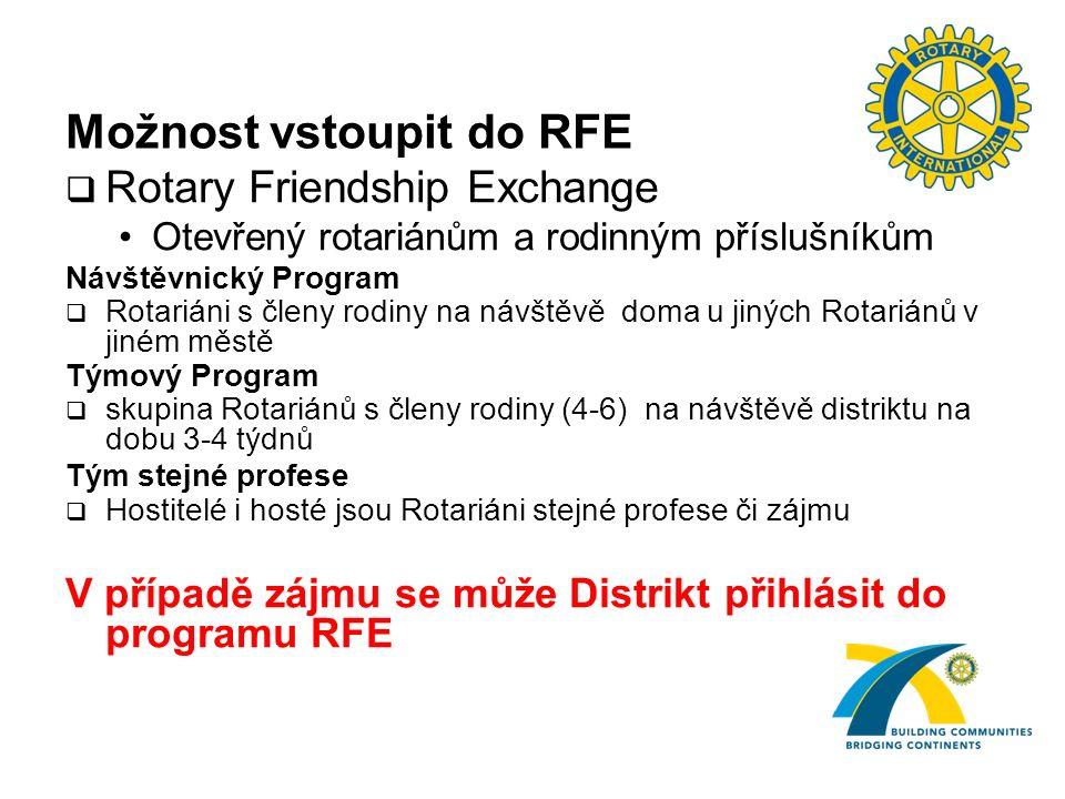 Možnost vstoupit do RFE  Rotary Friendship Exchange Otevřený rotariánům a rodinným příslušníkům Návštěvnický Program  Rotariáni s členy rodiny na návštěvě doma u jiných Rotariánů v jiném městě Týmový Program  skupina Rotariánů s členy rodiny (4-6) na návštěvě distriktu na dobu 3-4 týdnů Tým stejné profese  Hostitelé i hosté jsou Rotariáni stejné profese či zájmu V případě zájmu se může Distrikt přihlásit do programu RFE