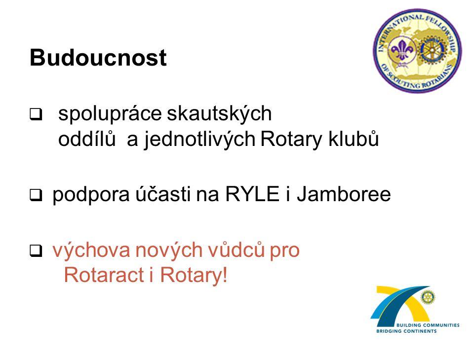 Budoucnost  spolupráce skautských oddílů a jednotlivých Rotary klubů  podpora účasti na RYLE i Jamboree  výchova nových vůdců pro Rotaract i Rotary!
