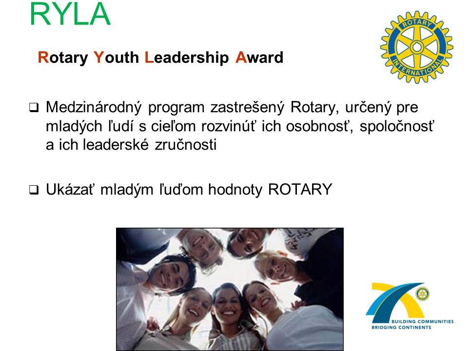 RYLA Rotary Youth Leadership Award  Medzinárodný program zastrešený Rotary, určený pre mladých ľudí s cieľom rozvinúť ich osobnosť, spoločnosť a ich leaderské zručnosti  Ukázať mladým ľuďom hodnoty ROTARY