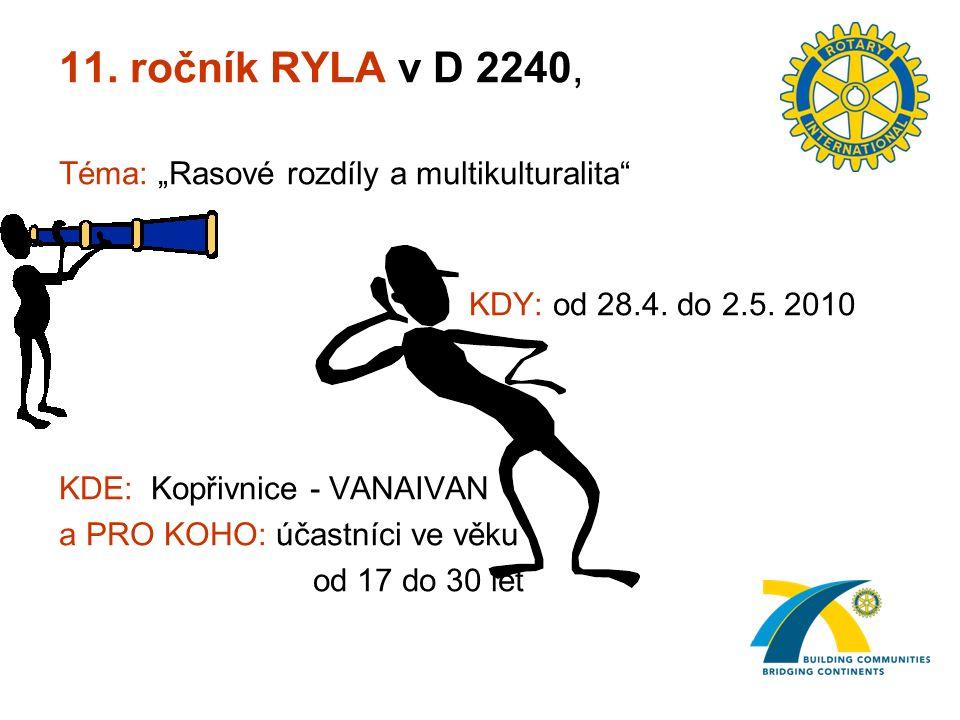 """11. ročník RYLA v D 2240, Téma: """"Rasové rozdíly a multikulturalita KDY: od 28.4."""