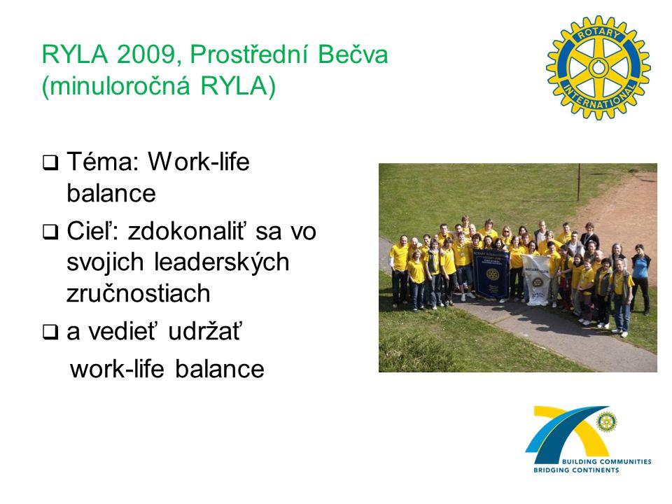 RYLA 2009, Prostřední Bečva (minuloročná RYLA)  Téma: Work-life balance  Cieľ: zdokonaliť sa vo svojich leaderských zručnostiach  a vedieť udržať work-life balance