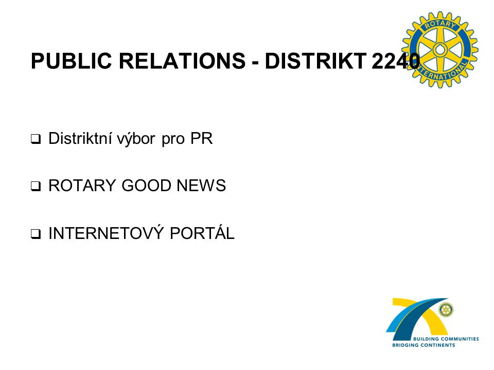 PUBLIC RELATIONS - DISTRIKT 2240  Distriktní výbor pro PR  ROTARY GOOD NEWS  INTERNETOVÝ PORTÁL