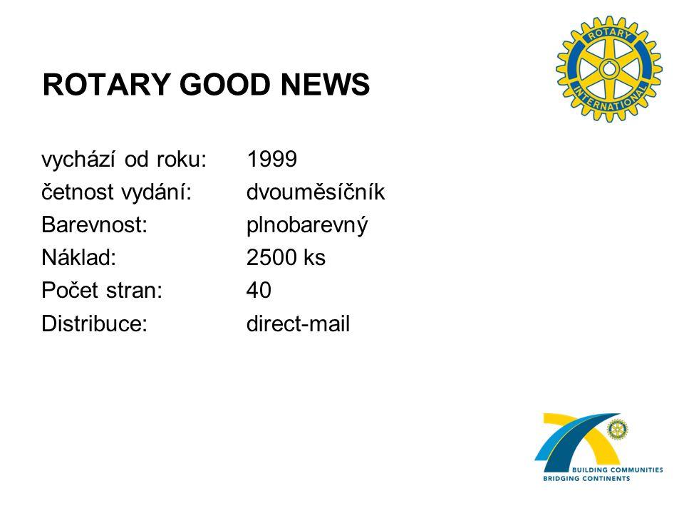 ROTARY GOOD NEWS vychází od roku:1999 četnost vydání: dvouměsíčník Barevnost: plnobarevný Náklad: 2500 ks Počet stran: 40 Distribuce: direct-mail