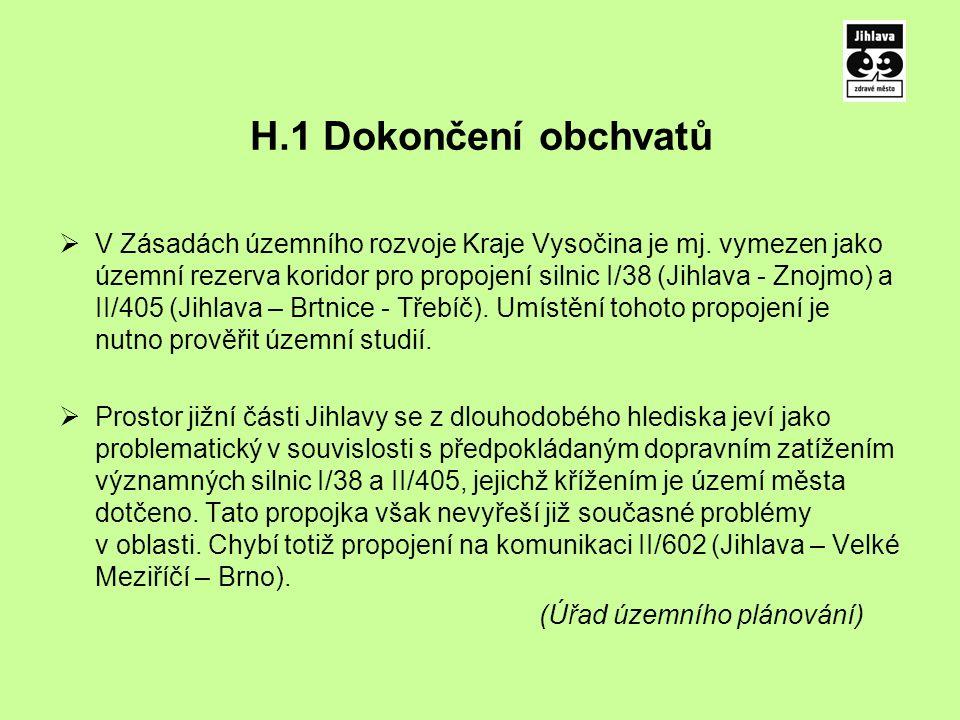 H.1 Dokončení obchvatů  V Zásadách územního rozvoje Kraje Vysočina je mj.
