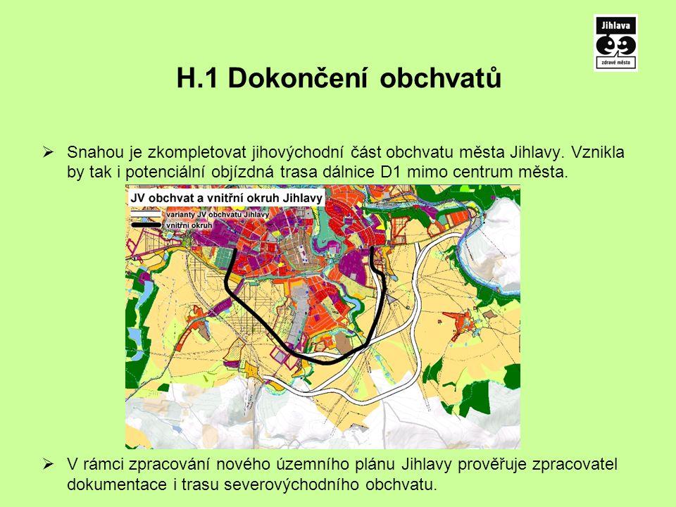 H.1 Dokončení obchvatů  Snahou je zkompletovat jihovýchodní část obchvatu města Jihlavy.