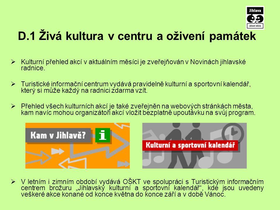 D.1 Živá kultura v centru a oživení památek  Kulturní přehled akcí v aktuálním měsíci je zveřejňován v Novinách jihlavské radnice.
