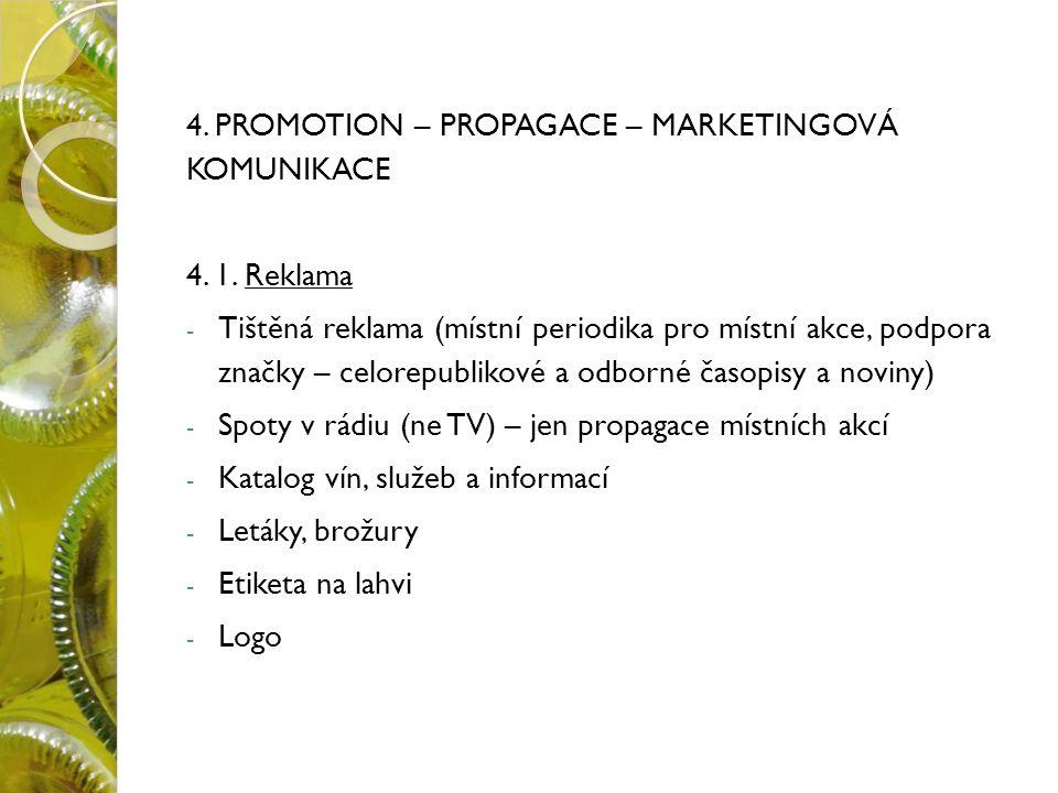 4. PROMOTION – PROPAGACE – MARKETINGOVÁ KOMUNIKACE 4.