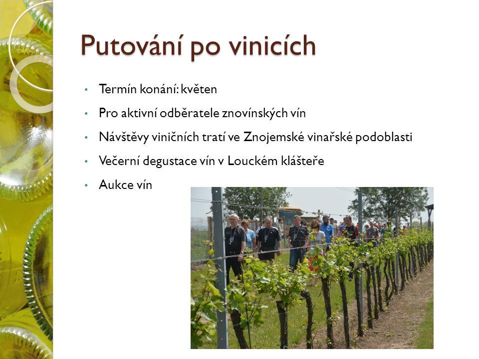 Putování po vinicích Termín konání: květen Pro aktivní odběratele znovínských vín Návštěvy viničních tratí ve Znojemské vinařské podoblasti Večerní degustace vín v Louckém klášteře Aukce vín